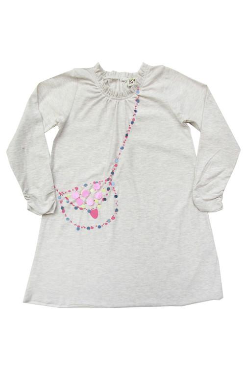 Sophie Catalou Girls Toddler & Kids Ecru Sequin Bag Dress 5-10y