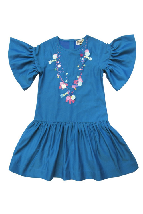 Sophie Catalou Girls Toddler & Kids Teal Sequin Necklace Dress  3-5y