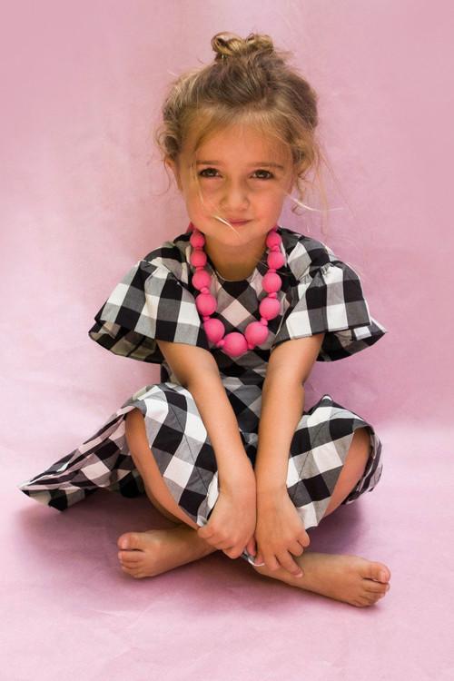 Sophie Catalou Girls Toddler & Kids Black and White Yumi Dress 2-12y