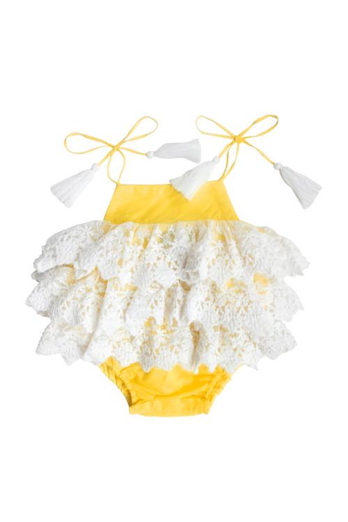 Yellow Lace Ruffle Romper