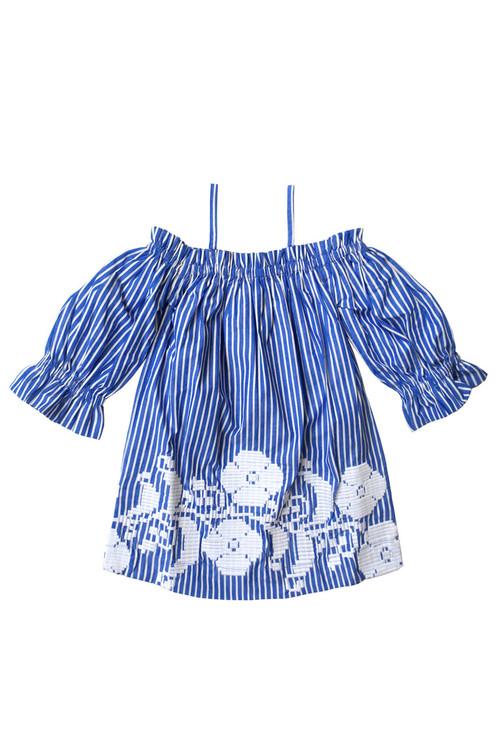 Sophie Catalou Girls Toddler & Kids Blue and White Kara Dress 6-14y