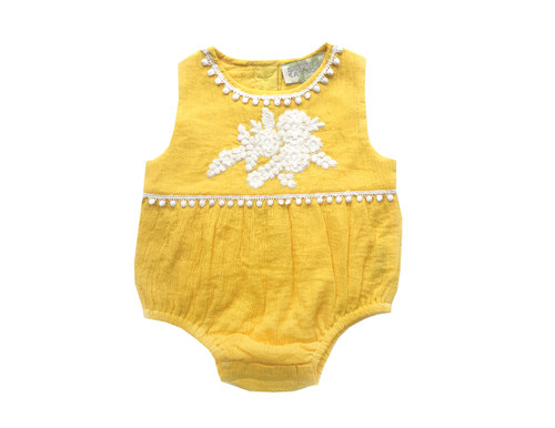 Sample Sale Yellow Embroidered Romper