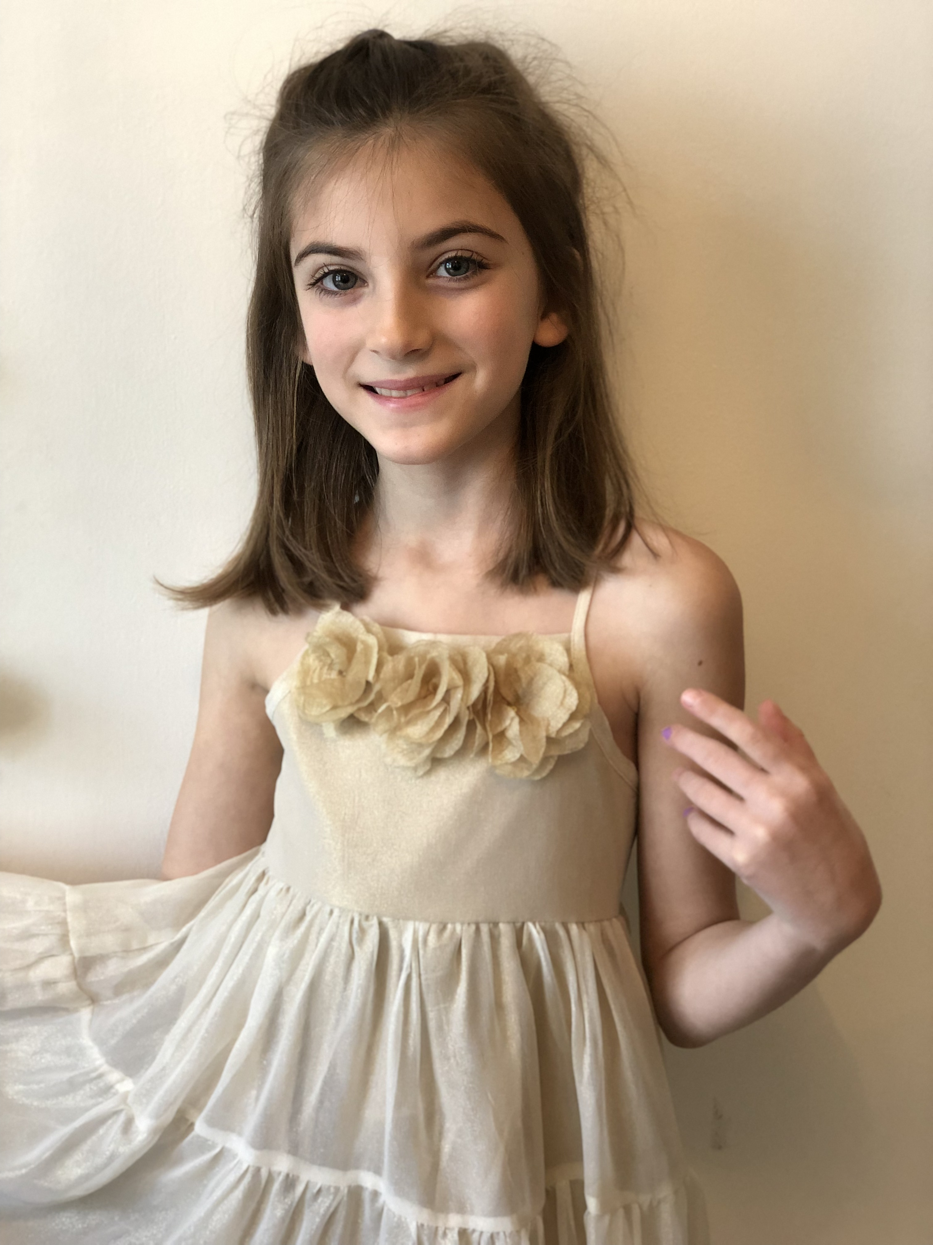 NWT Sophie Catalou Cotton Dress Blue//Gray Sparkle Trim Girls 6M-6Y Sleeveless