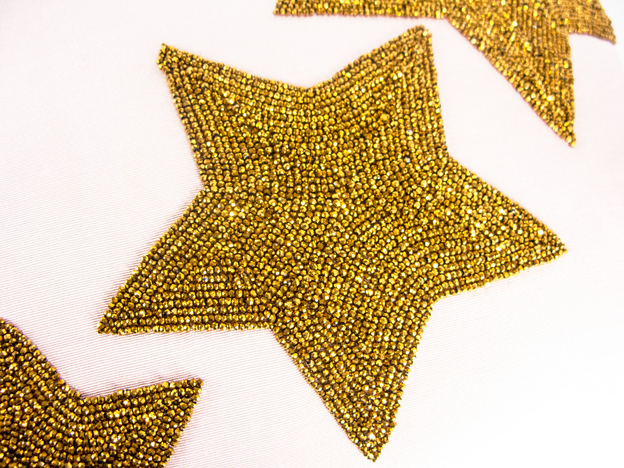 Gold Crystal Valentine/'s Day Decor Bead Embroidery Lumbar Pillow Hand Beaded Stars on Pink Cotton Fabric