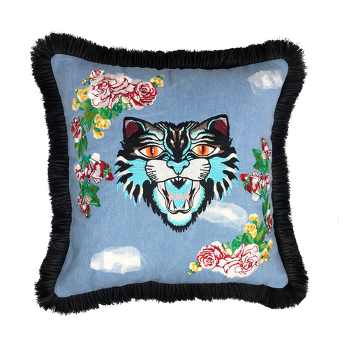 DENIM TIGER EMBROIDERY DESIGN PILLOW