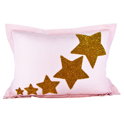 Hand Beaded Lumbar Pillow in Gold and Pink