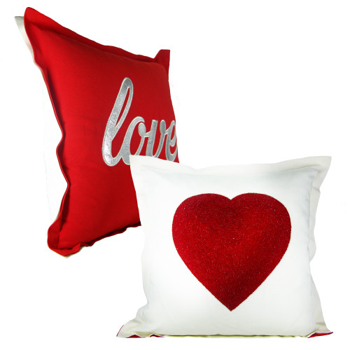 Double-Sided Love Throw Pillow Crystal Beaded
