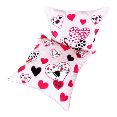MOSCHINO SILK SCARF - OLIVE OYL APPLIQUE PINK PILLOW SET OF TWO