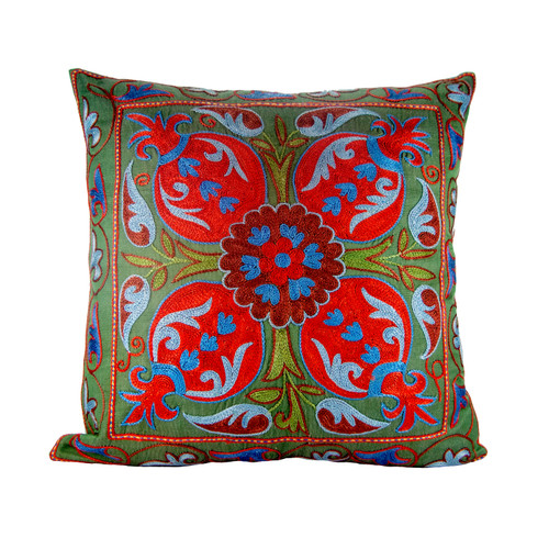 VINTAGE SUZANI HAND EMBROIDERED SILK PILLOW GREEN RED BLUE