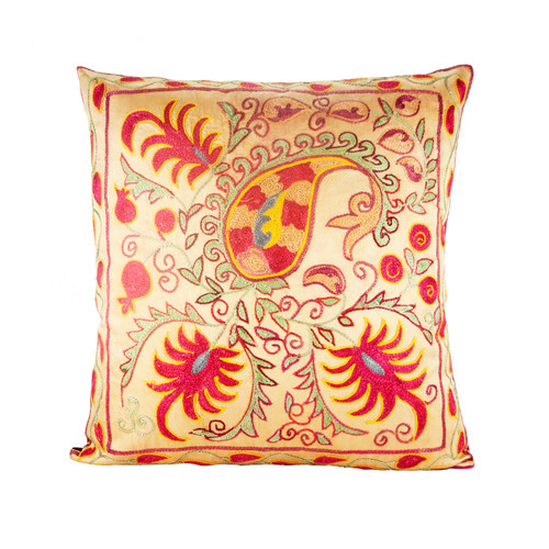 VINTAGE SUZANI HAND EMBROIDERED SILK THROW PILLOW