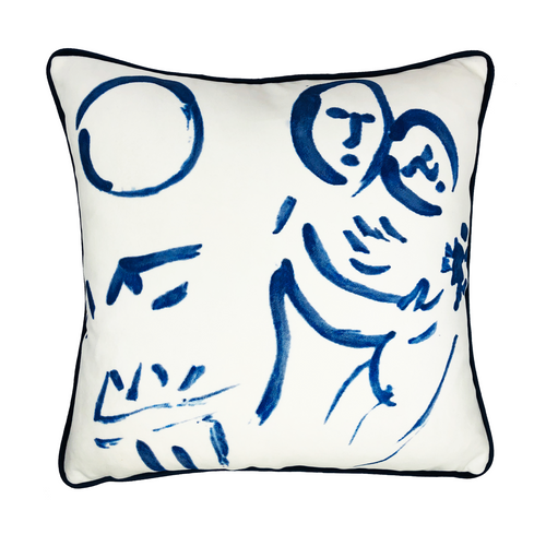 Marc Chagall Hand Painted White Velvet Throw Pillow