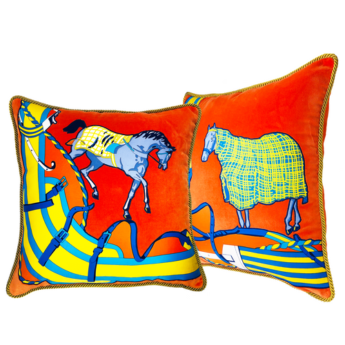 Hermes Silk Scarf Applique Pillow