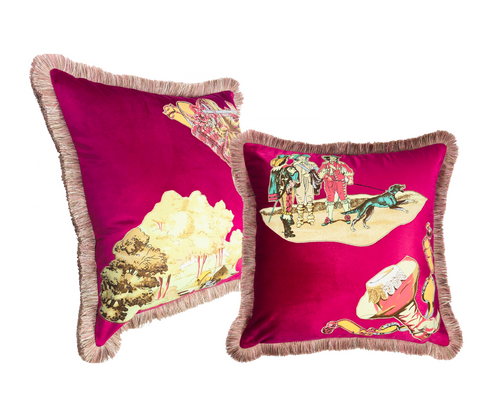 HERMES VINTAGE SILK SCARF APPLIQUE VELVET PILLOW SET