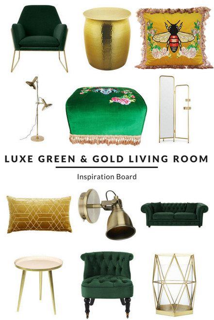 LUXE GREEN, BLUE, BEIGE, BLACK, NAVY  AND GOLD LIVING ROOM