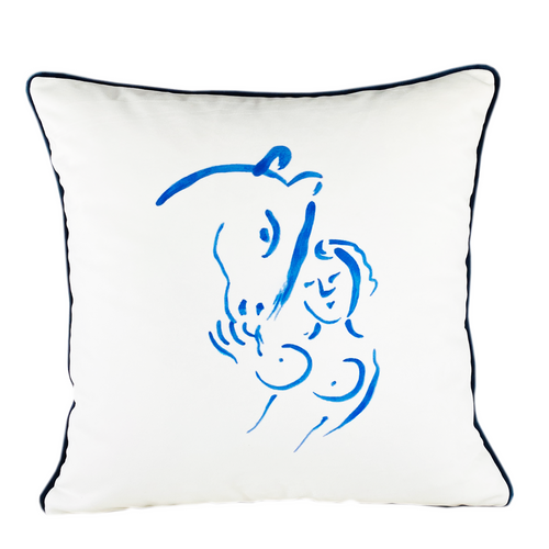 Marc Chagall Hand painted Throw Pillow Naked and Horse
