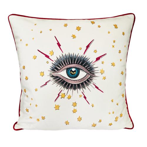 Evil Eye Star Throw Pillow Original Paint