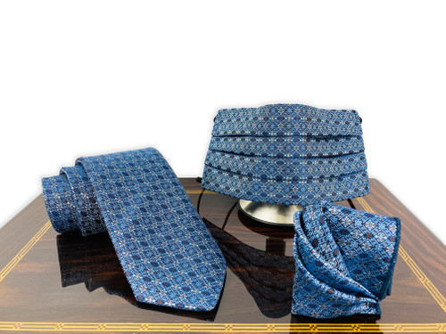 face mask for men blue cross pattern necktie set