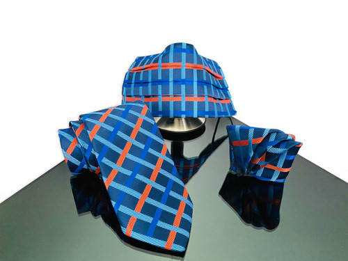 Blue face mask necktie set