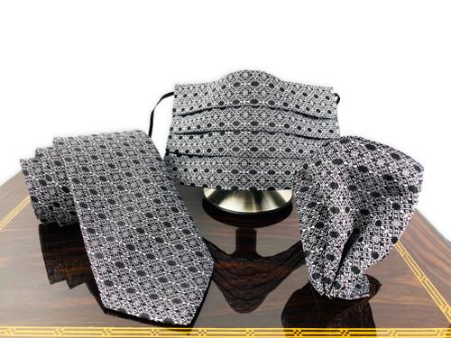 groomsmen face mask black suit set necktie pocket square set
