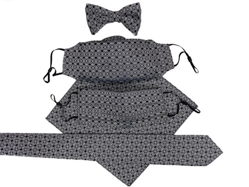 matching bow tie face mask 3d style filtered pleaded mask pocket square necktie combo, Christmas gift for him
