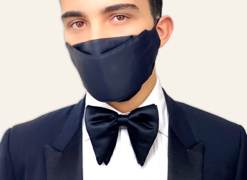 Luxury New Years face mask bow tie matching set