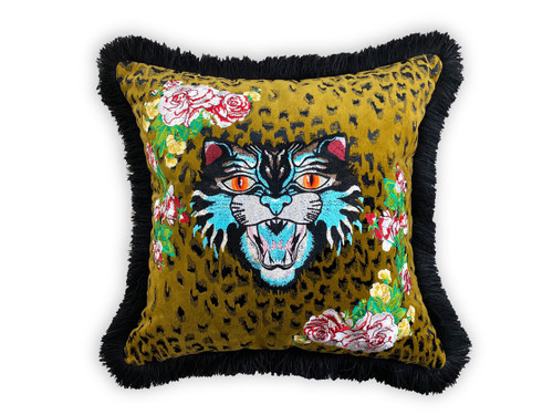Leopard Velvet Tiger Embroidery Design Throw Pillow