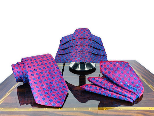 Purple and Blue Face Mask For Men, Matching Necktie, Pocket Square