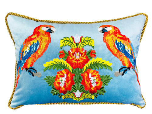 Parrot Embroidery Design  Lumbar Pillow. Tropical birds Cushion