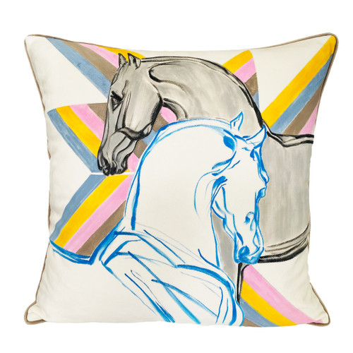 hermes horse pillow hand painting throw pillow