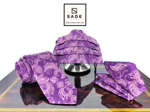 Purple Paisley Face Mask Necktie and Handkerchief Set