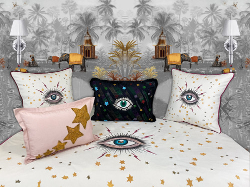 Shop the Star Eye velvet hand paint throw blanket at SADE NEW YORK COM Enjoy Free Shipping and Complimentary Gift Wrapping