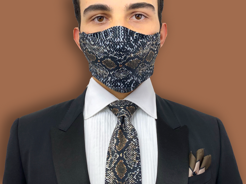 Luxury FATHER'S DAY Gifts. Face Mask & Necktie Set SnakeSkin Print
