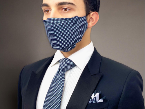 Goose foot pattern Mask necktie set for men father's day gift