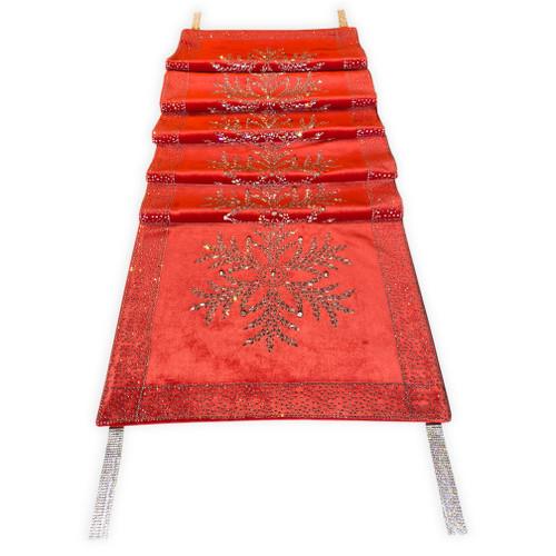 Christmas Crystal Snowflake Table Runner Matching Tree Skirt