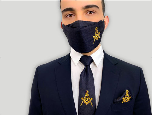 Masonic Ties - Freemason Tie - Gold Embroidered Mason Face Mask
