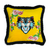 YELLOW VELVET TIGER EMBROIDERY DESIGN SQUARE PILLOW