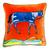 Hermes Pillow, Silk Scarf Applique Orange Velvet Pillow