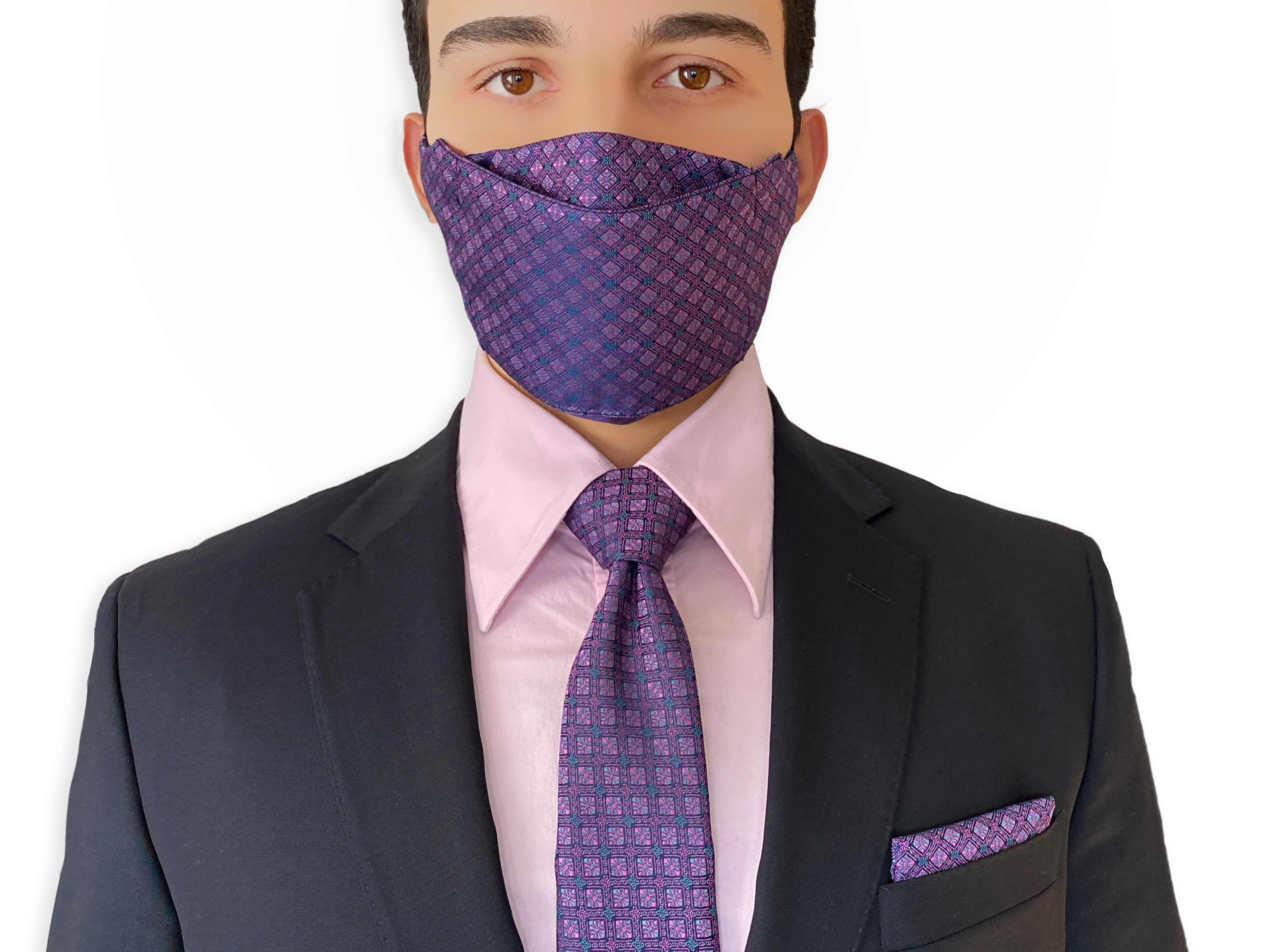 Mask and Tie Set, Purple Face Mask Matched necktie