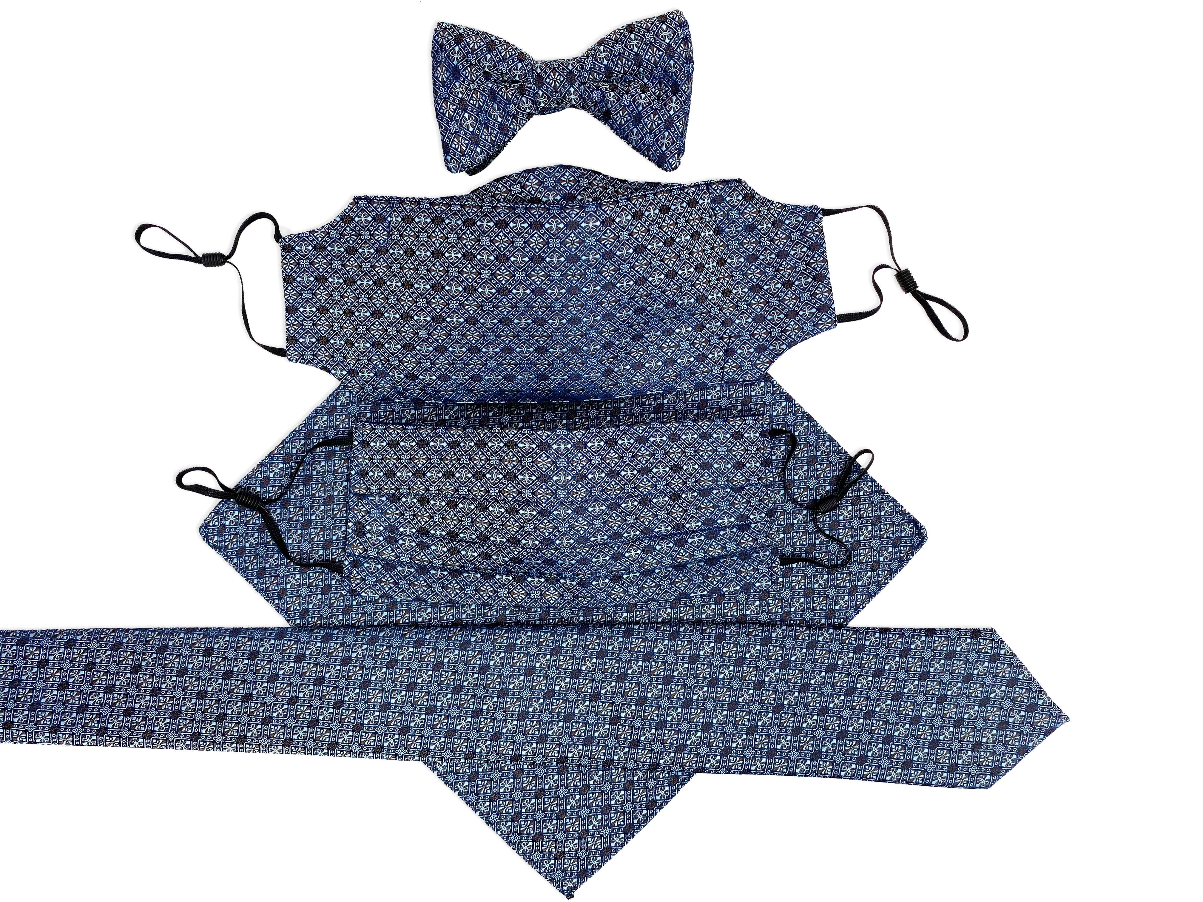bow tie necktie face mask handkerchief Christmas gift for him