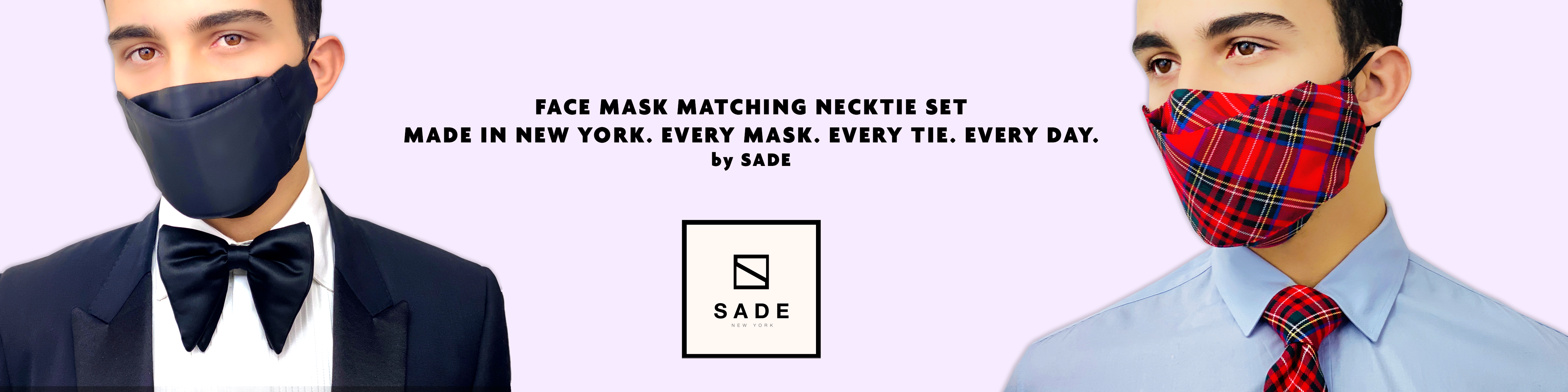 Elevate your quarantine wardrobe by matching your face mask to your tie, bow tie,  handkerchief, Fast shipping Made in USA by Sade New York