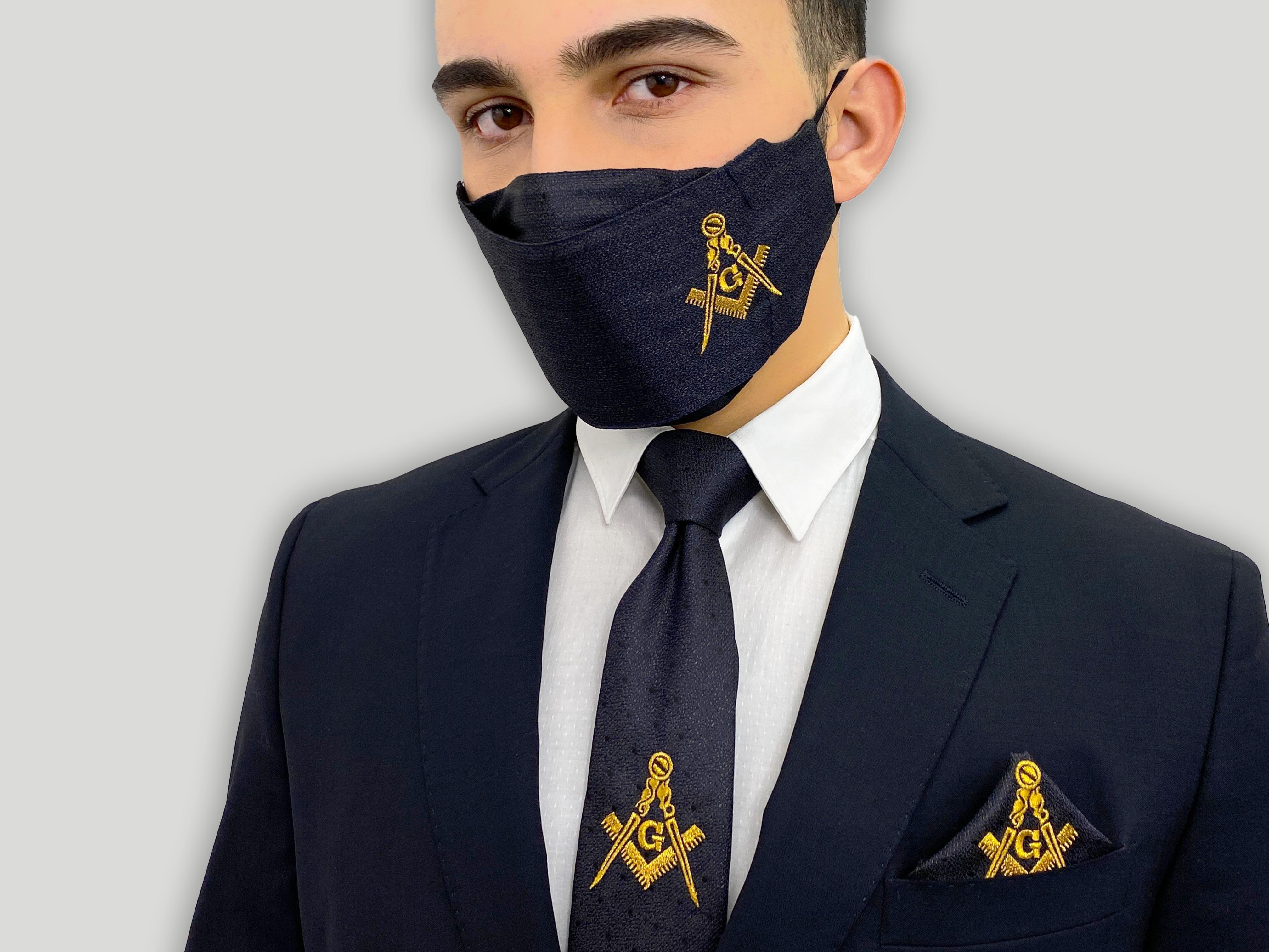 Masonic Embroidered Fave Mask Matching Tie and Handkerchief Set, Free Mason Gold Logo