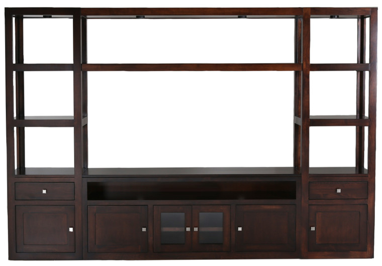 As Shown: Maple Tobacco, Configuration: Wood and Glass Doors