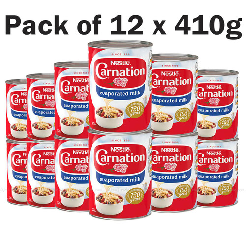 Nestle Carnation Evaporated Milk Desserts Pudding Topping Tin -Pack of 12 x 410g