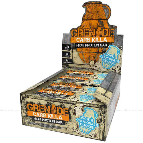 Grenade Carb Killa High Protein Snack Bar White Chocolate Cookie Pack of 12x60g