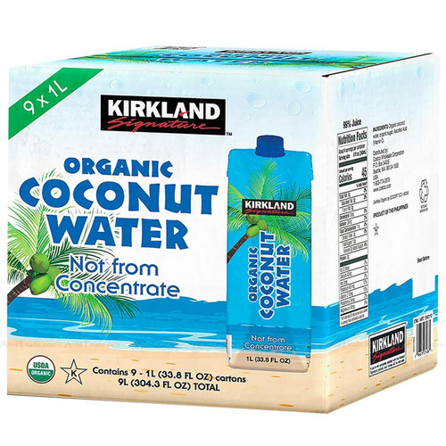 Kirkland Signature Organic Coconut Water Not from Concentrate - Pack of 9 x 1L