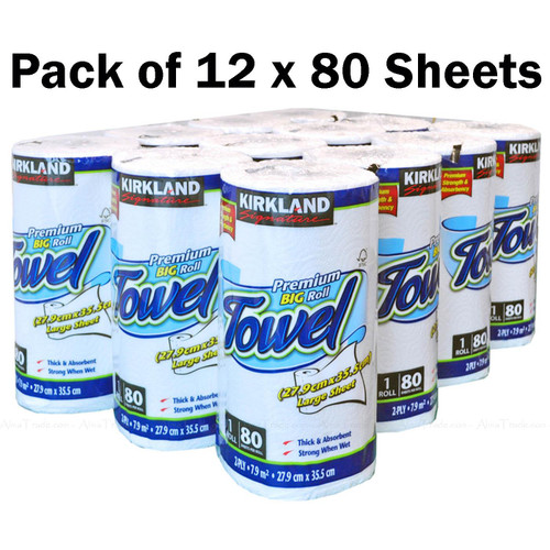 Kirkland Signature Kitchen Towel Thick Absorbent 80 Large Sheets - Pack 12 Rolls