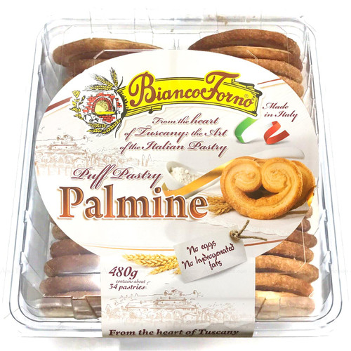 Biancoforno Puff Pastry Palmine Italian Tuscany Contain 34 Pastries Pack of 480g