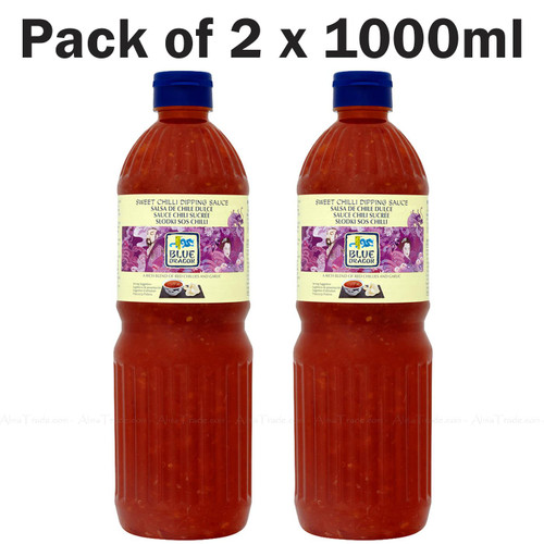 Blue Dragon Sweet Chilli Dipping Sauce Red Chillies Garlic Thai - Pack of 2 x 1L