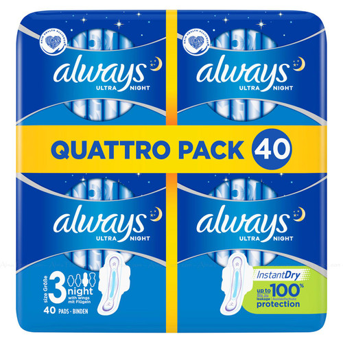 Always Ultra Night Size 3 Sanitary Towels with Wings Absorbent - Pack of 40 Pads