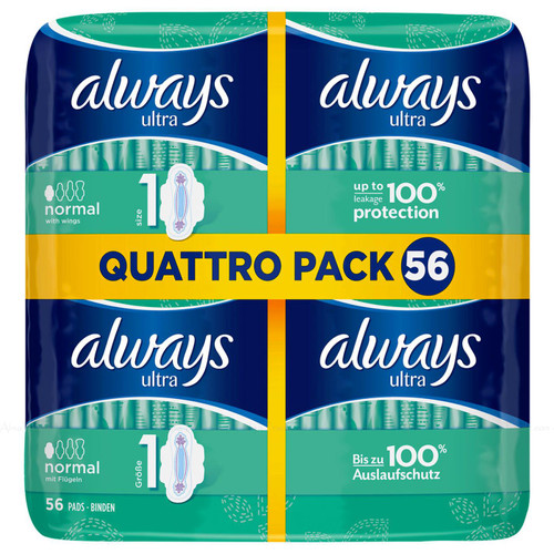 Always Ultra Normal Size1 Sanitary Towels with Wings Absorbent - Pack of 56 Pads